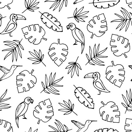 Vector seamless pattern with hand drawn outline palm leaves,  toucans and parrots.