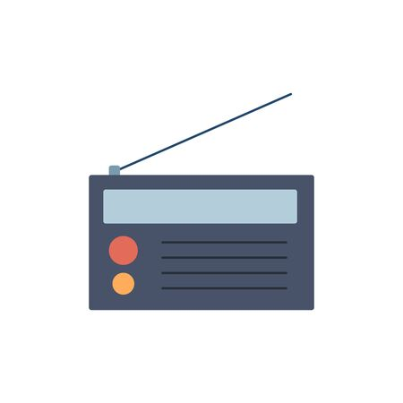 Vector illustration of colorful flat radio. Radio icon. Çizim