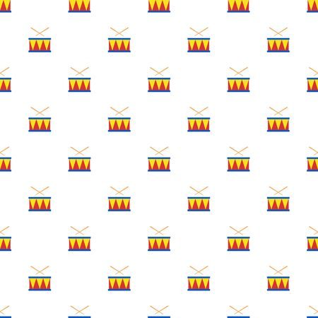Vector seamless pattern of colorful toy drum and drumsticks.