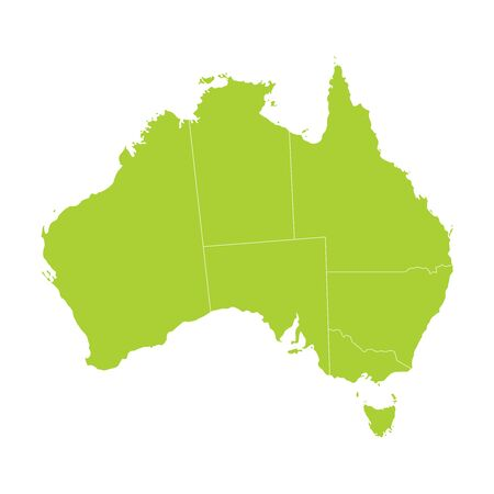 Vector green silhouette Australia map. Vector illustration.