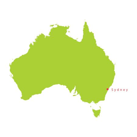 Vector green Australia map and Sydney.