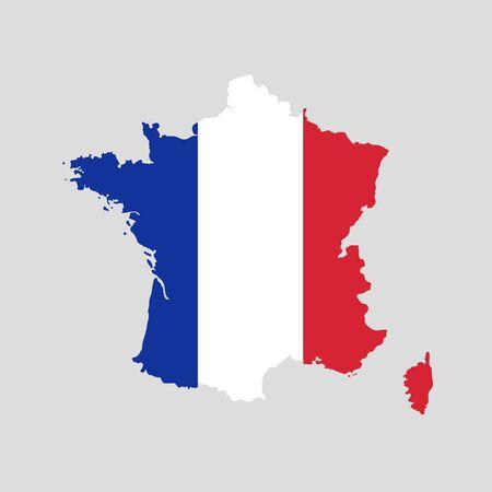 Ilustracja wektorowa mapy flagi Francji. Mapa wektorowa.