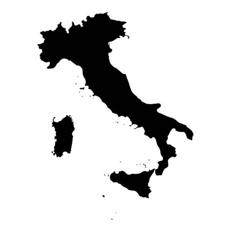 Vector illustration of black silhouette Italy map.