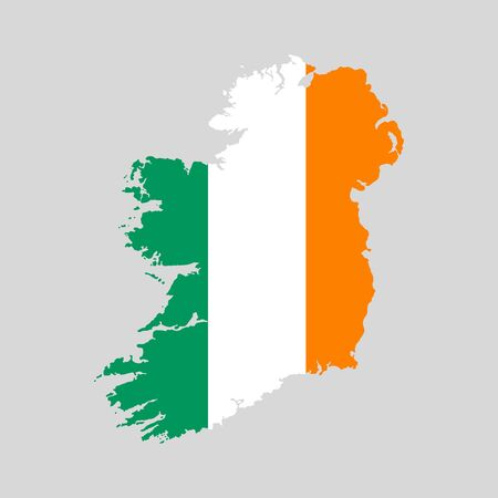 Vector illustration of Ireland flag map. Vector map.