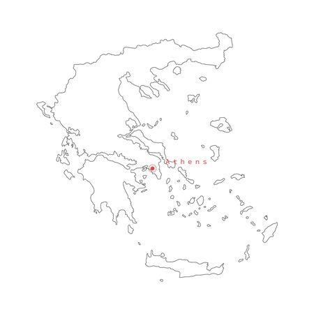 Vektor-Illustration der Griechenland-Karte mit der Hauptstadt Athen.
