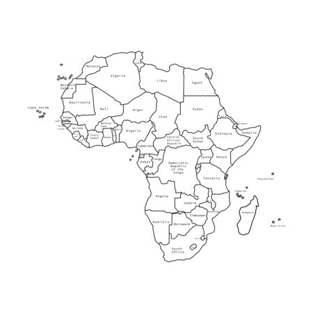 Vector illustration of Africa black outline map with countries. Vector map.