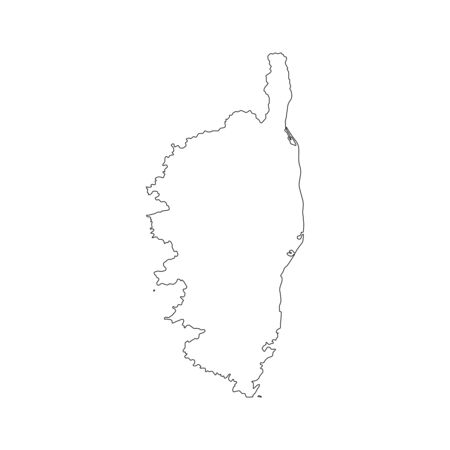 Vector illustration of black outline Corsica map. Çizim