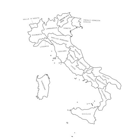 Italy regions black outline map. Italy regions. Ilustrace