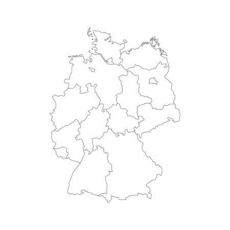 Vector illustration of black outline Germany map.
