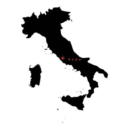 Vector illustration of black silhouette Italy map with capital city Rome. Çizim