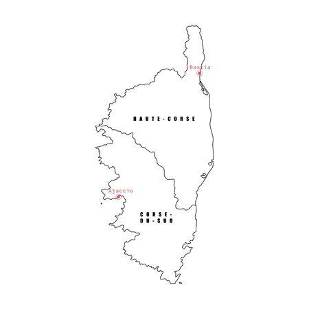 Vektor-Illustration der schwarzen Umriss-Korsika-Karte.