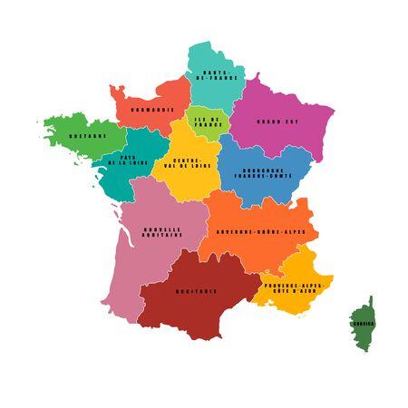 Mappa delle regioni della Francia. Mappa vettoriale. regioni francesi..