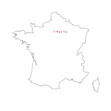 Vector illustration of black outline France map with capital city Paris. Stok Fotoğraf - 133465952