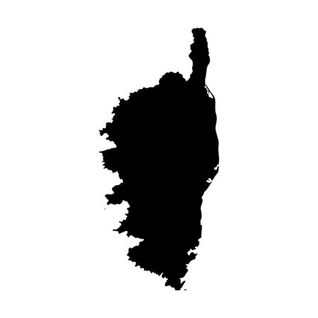 Vector illustration of black silhouette of Corsica map.