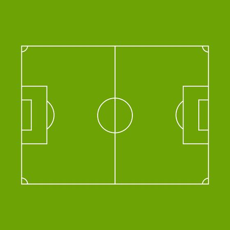 Vector illustration of green football pitch. Football field.