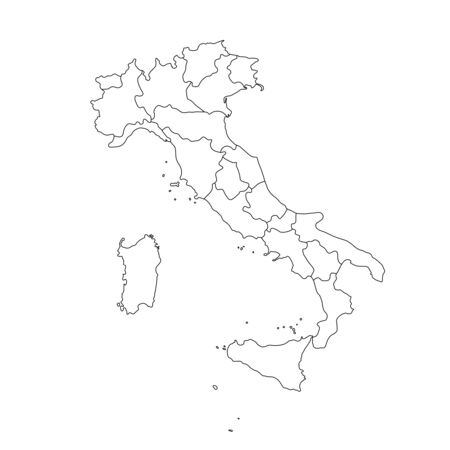 Vector illustration of black outline Italy map.