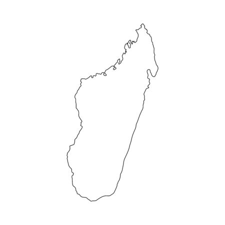 Vector illustration of black outline Madagascar map.  イラスト・ベクター素材