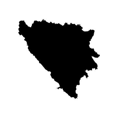 Vector illustration of black silhouette Bosnia and Herzegovina.map. Illusztráció