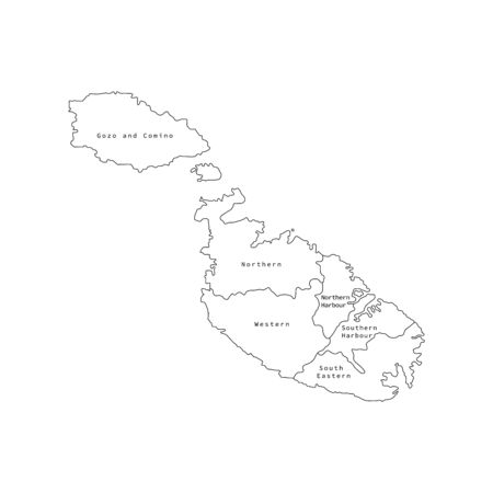 Vector illustration of outline Malta districts map. Vector map..