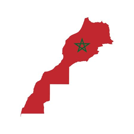 Vector illustration of Morocco flag map. Vector map.