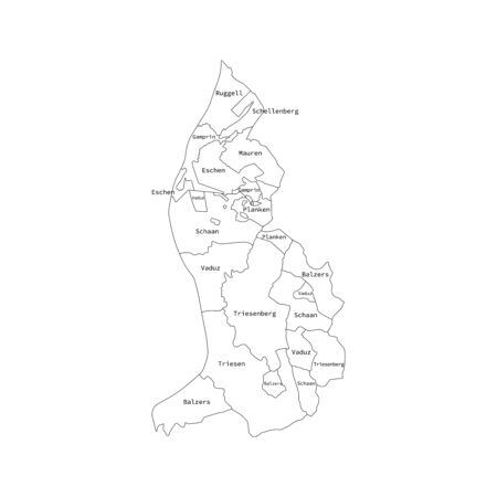 Vector outline administrative division map of Liechtenstein. Vector map.