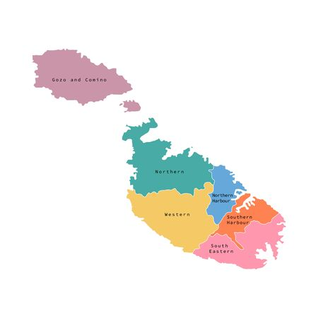 Vector illustration of Malta districts map. Vector map.