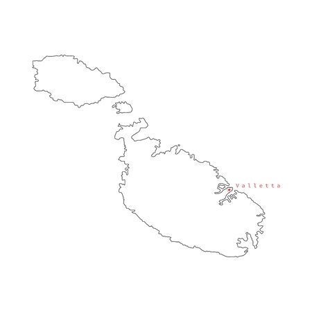 Vector illustration of black outline Malta map.