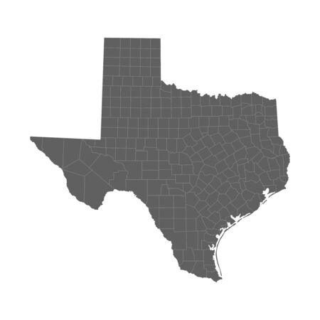 Vector illustration of grey Texas map. Vector map.
