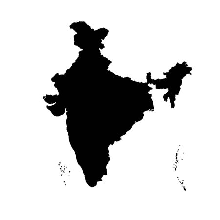 Vector illustration of black silhouette India. Vector map.
