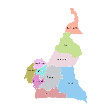 Vector illustration of administrative division map of Cameroon. Vector map.