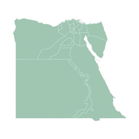 Vector outline administrative division map of Egypt. Vector map.