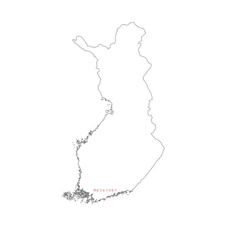 Vector illustration of outline Finland map with capital city Helsinki.