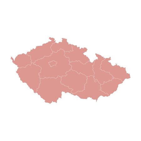 Vector illustration of administrative division map of Czech. Vector map.