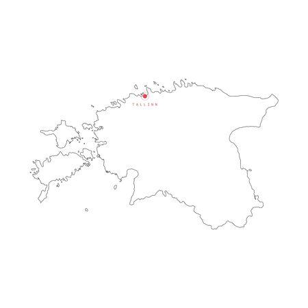 Vector illustration of outline Estonia map with capital city Tallinn.
