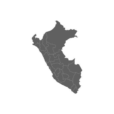 Vector illustration of grey Peru map. Vector map.