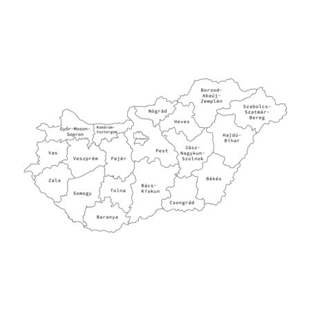 Vector illustration of administrative division map of Hungary.