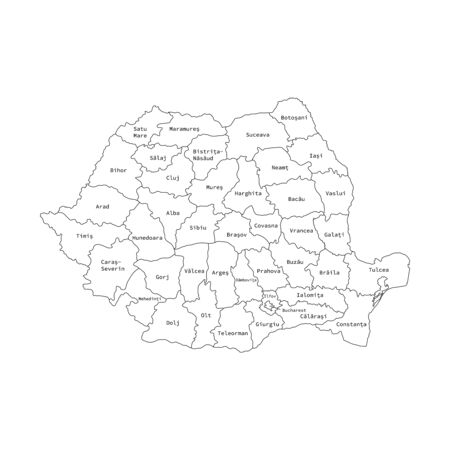 Vector illustration of administrative division map of Romania. Vector map.