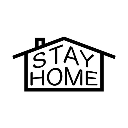 Vector illustration of house and stay home text.