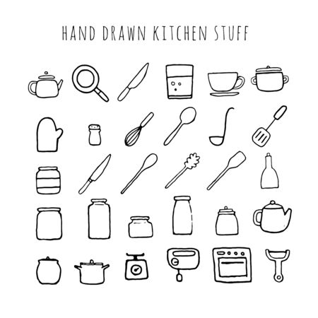 Vector hand drawn kitchen stuff. Collection of kitchen tools. Illustration