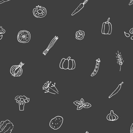 Vector seamless pattern of hand drawn vegetables and herbs. . Illustration
