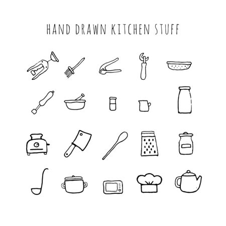 Vector hand drawn kitchen stuff. Collection of kitchen tools..