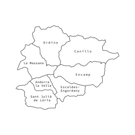 Vector illustration of administrative division map of Andorra. Vector map.