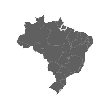 Vector illustration of grey Brazil map. Vector map. .