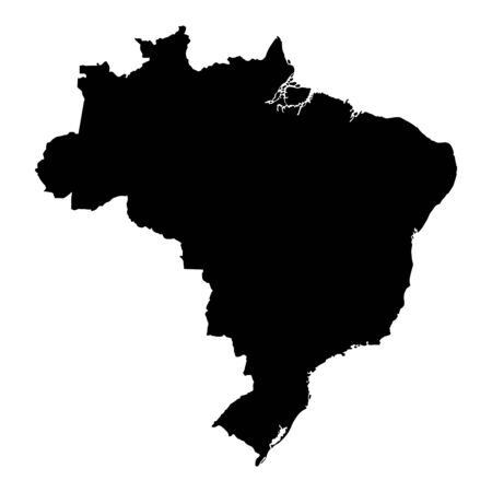 Vector illustration of black silhouette Brazil. Vector map.. Illustration