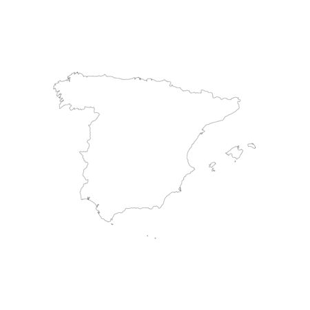 Vector illustration of outline Spain map. Vector map..