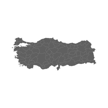 Vector illustration of grey Turkey map. Vector map. .