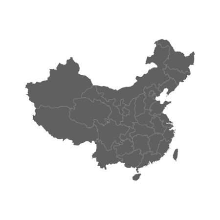 Vector illustration of grey China map. Vector map.