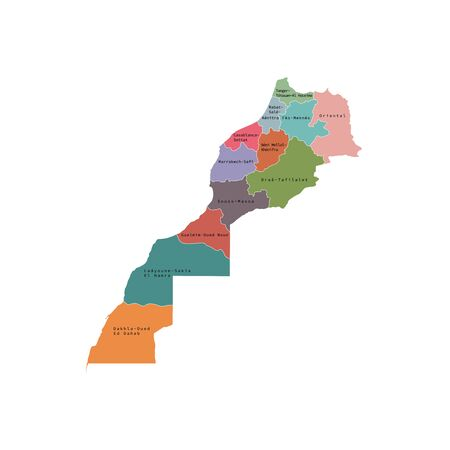 Vector illustration of administrative division map of Morocco. Vector map.
