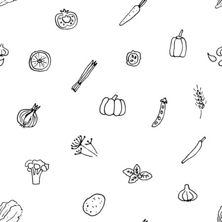 Vector seamless pattern of hand drawn vegetables and herbs.
