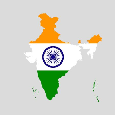 Vector illustration of India flag map. Vector map..